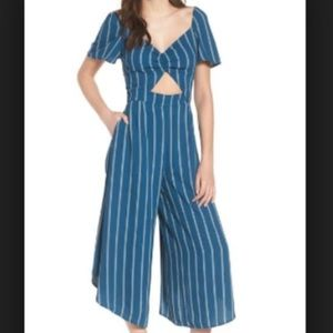 Striped culotte jumpsuit with front cut out